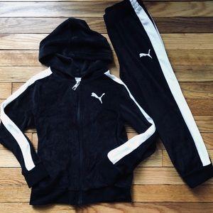 NWOT Puma Set Black White Zip Up Hoodie Set Size 6